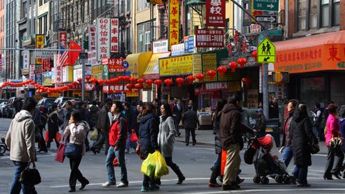 资料图片:美国纽约唐人街。