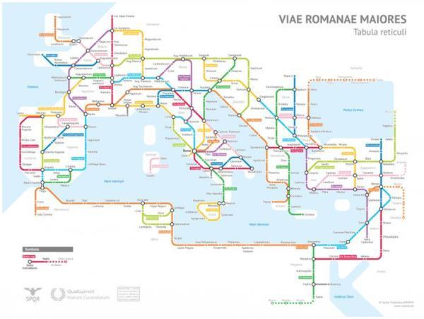 罗马帝国的道路系统是什么样子 这儿有份精彩的 地铁图