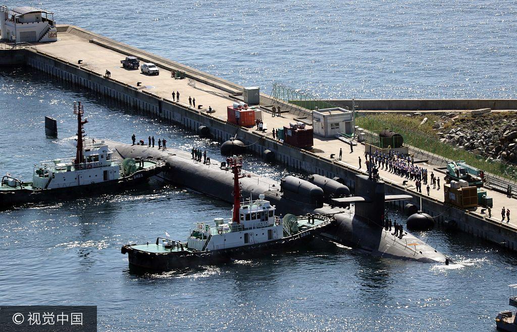 美国核潜艇驶入釜山港 搭载150余发导弹