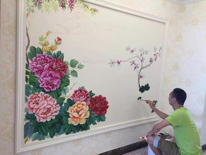 新颖独特的现代风手绘沙背景墙 电视背景墙彩绘