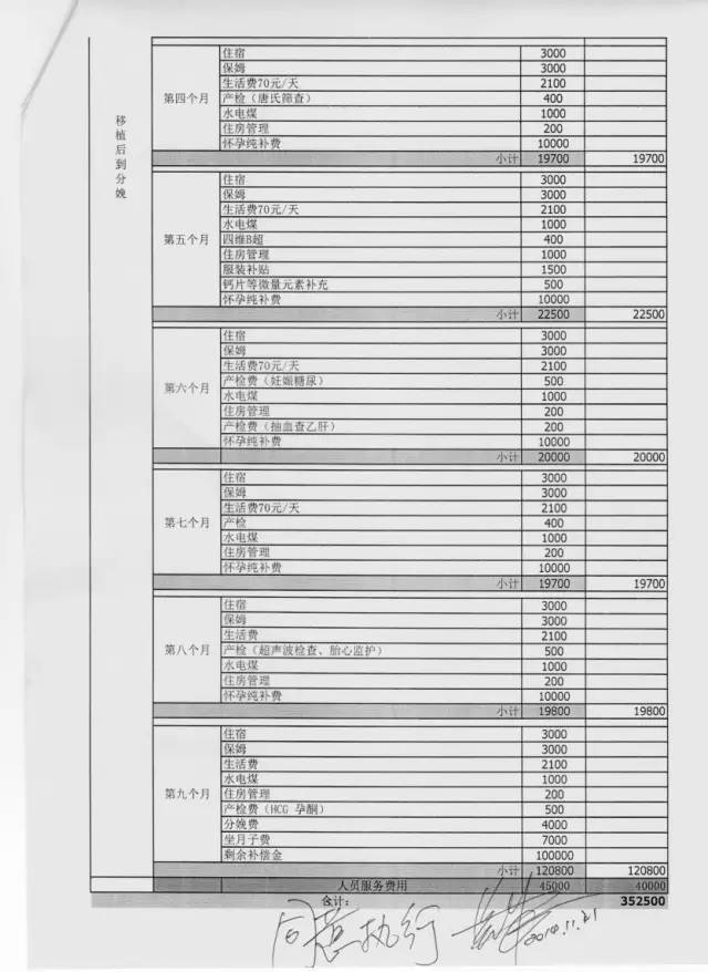 """曦蕾国际的""""65万元代孕套餐成本计算表"""""""