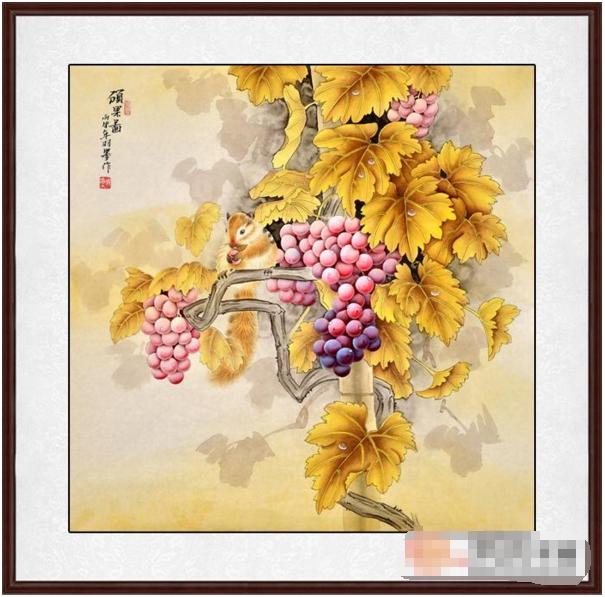 画羽墨最新斗方葡萄图《硕果图》(作品来源:易从网)-餐厅挂葡萄