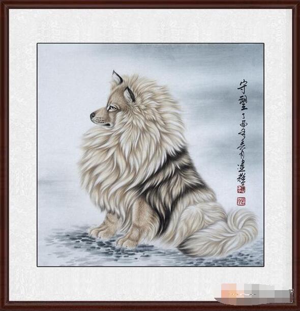 工笔画名家新品佳作王建辉斗方工笔动物画《守望》作品来源:易从网