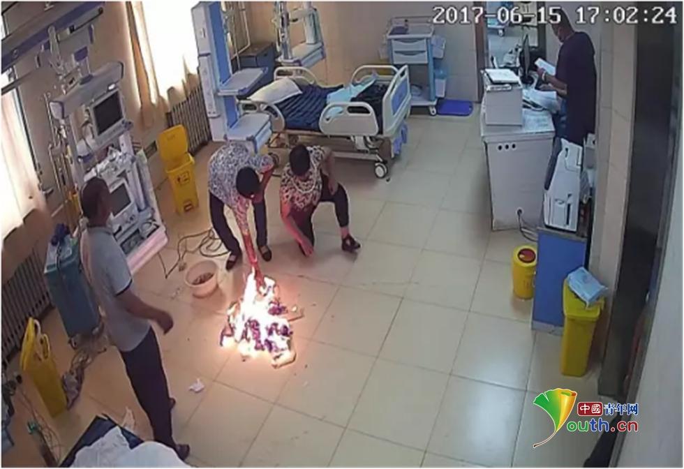 滨州市一医院发生医闹事件:大卡车堵门 重症监护室烧纸钱