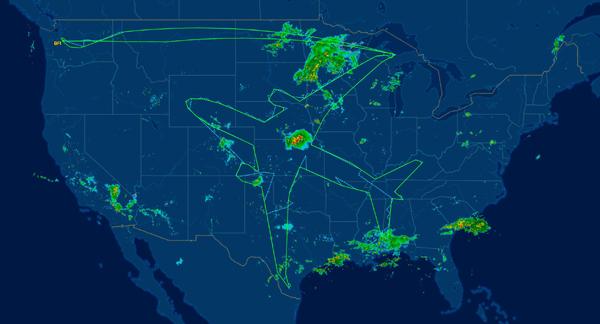"""惊叹!波音787-8梦幻客机在美国上空飞出""""自画像"""""""