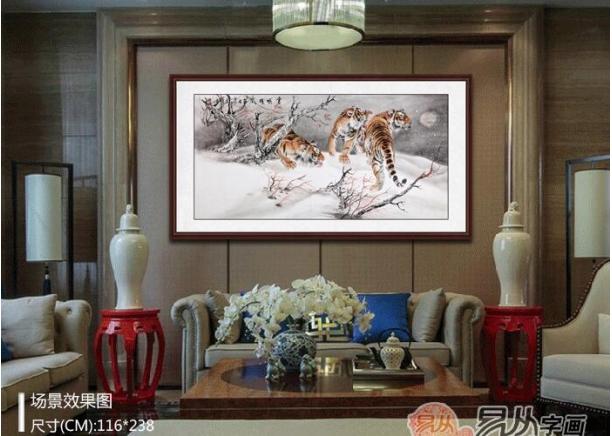 中式客厅沙发背景墙挂什么画好 王建辉动物画时尚家居