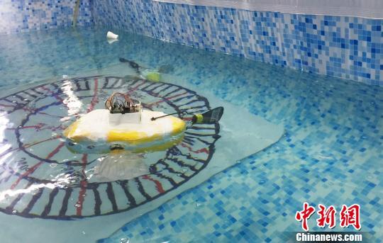 图为在中水游动的机器鱼。 徐雪摄
