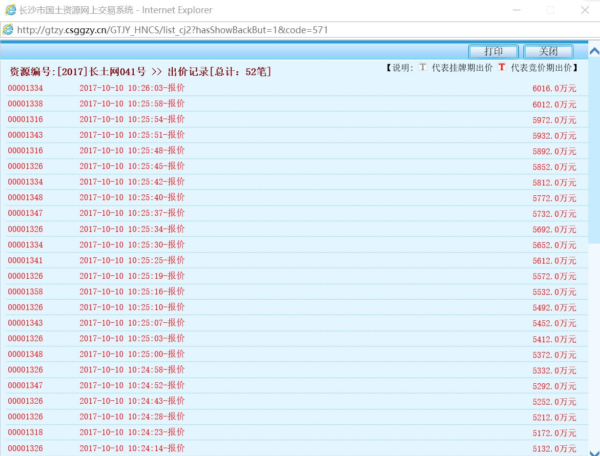 041号地块出价记录,10时26分达到最高限价。