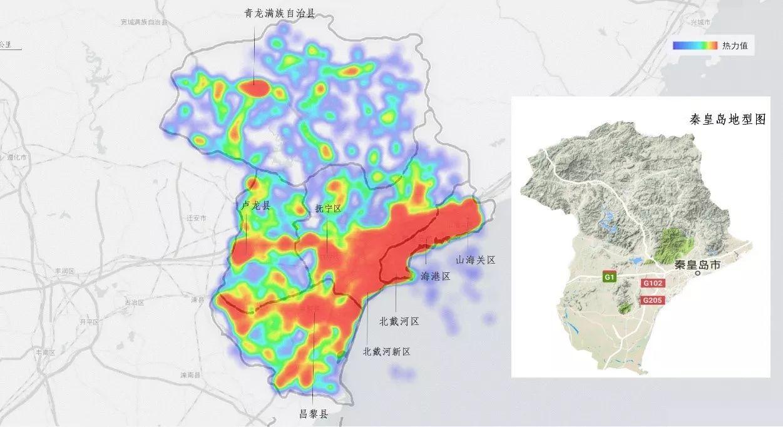 结合区域地形图不难看出,在秦皇岛辖域内的人口活动主要集中在沿海岸