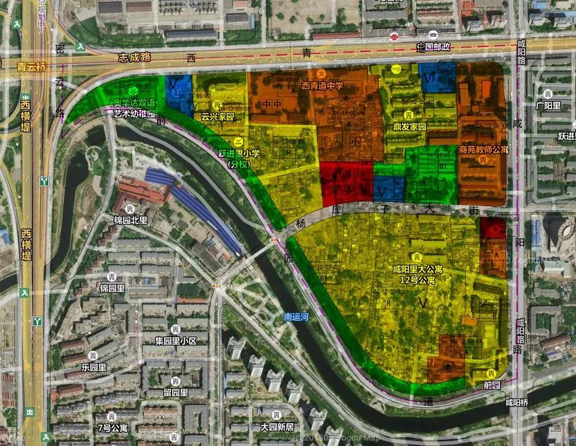 新建一所小学(h);新建三个公园绿地,其中两个沿河的带状公园.