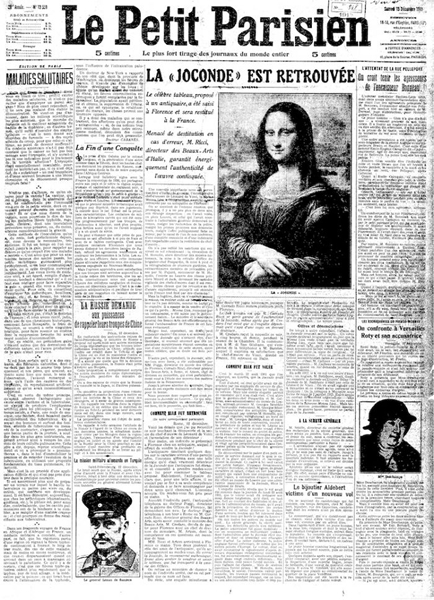 《蒙娜丽莎》失踪两年后被发现的报纸。 图片:Le Petit Parisien