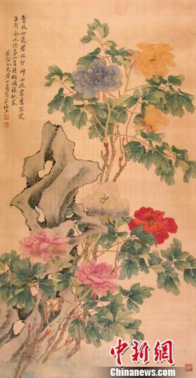 清黄山寿设色牡丹图钟欣摄
