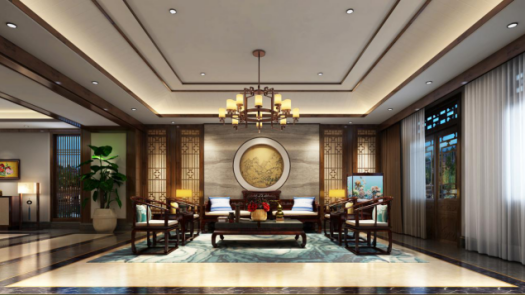 2017年新中式设计客厅装修效果图鉴赏