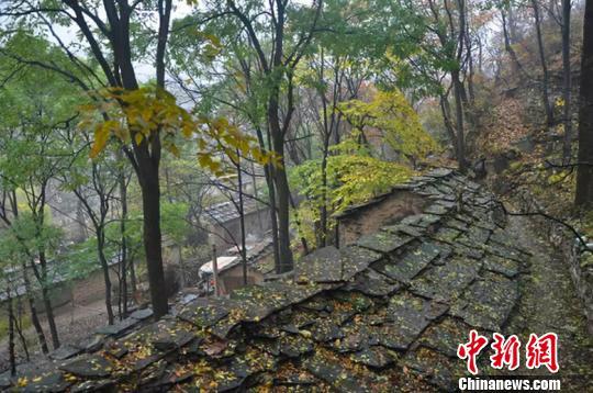 为方便出行,神龙湾村的村民们在高约百丈的悬崖绝壁山开凿出一段羊肠小。 山西省旅发委供图摄