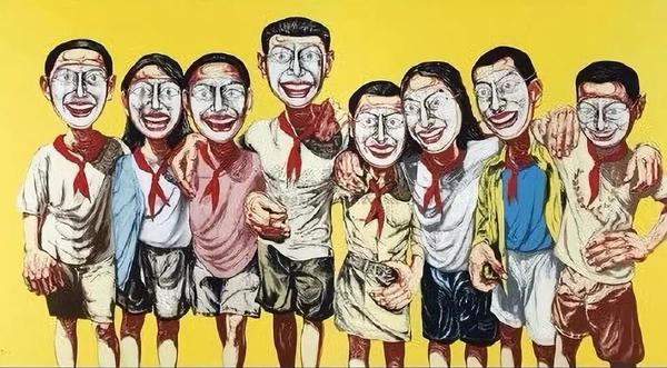 曾梵志1996年的作品《面具系列No.6》