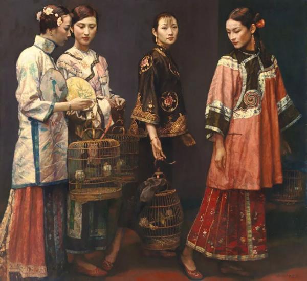 陈逸飞(中国,1946-2005) 《丽人行》