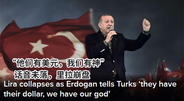 """""""他们有美元,我们有神""""话音未落土耳其货币崩盘"""