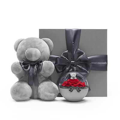 抱抱甜心熊玫瑰礼盒