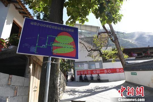 图为果者村里路旁的墙上、果树上,多处贴有逃生标示。 杨艳敏摄