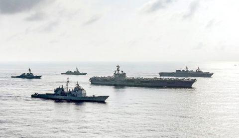 """美军舰穿台湾海峡,蔡办又""""乐了"""""""