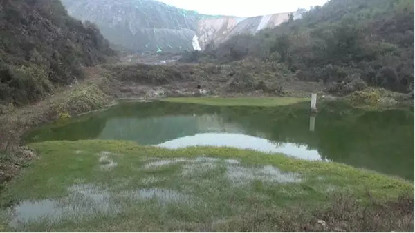 图4 渗滤液和磷石膏流失进入渣场外池塘