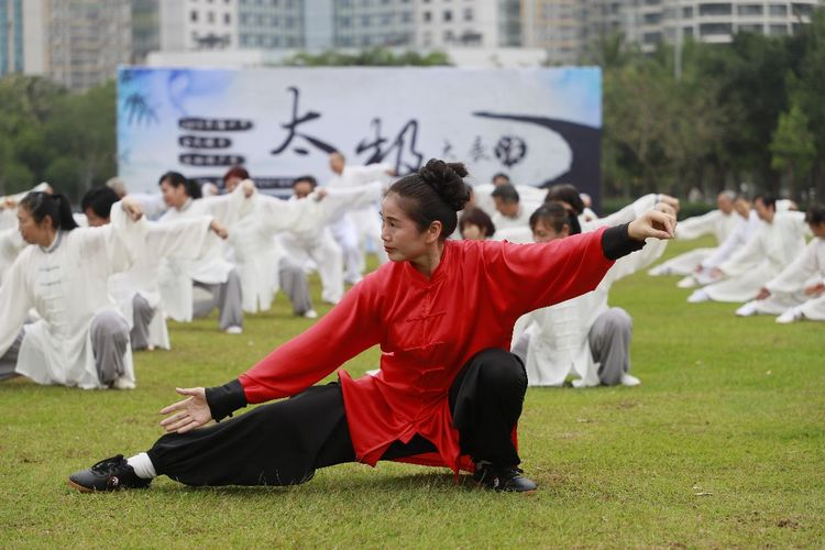 2019年海口市全民健身运动推广季活动之太极展演在万绿园举办