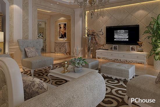 欧式客厅电视背景墙装修效果