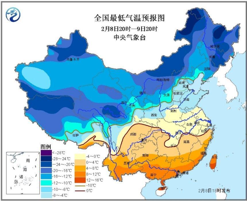 南方寒潮继续,局地降温超过8℃