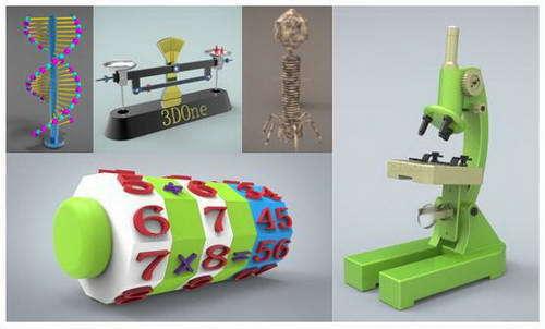 3D One设计的各类教具模型