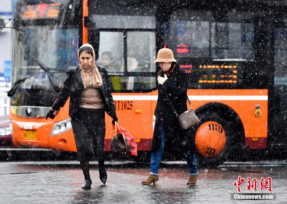 乌鲁木齐清明时节雪纷纷 路上行人急匆匆