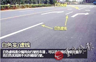 白色虚线是分隔同向行驶的车道,可以进行越线变道等操作;而白色实线则