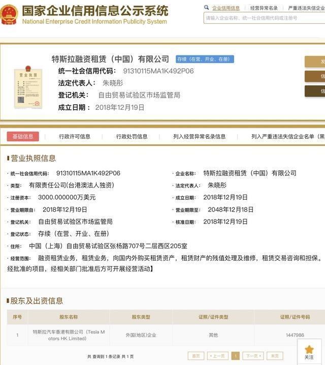 特斯拉在上海成立融资租赁公司 注册资本3000万美元