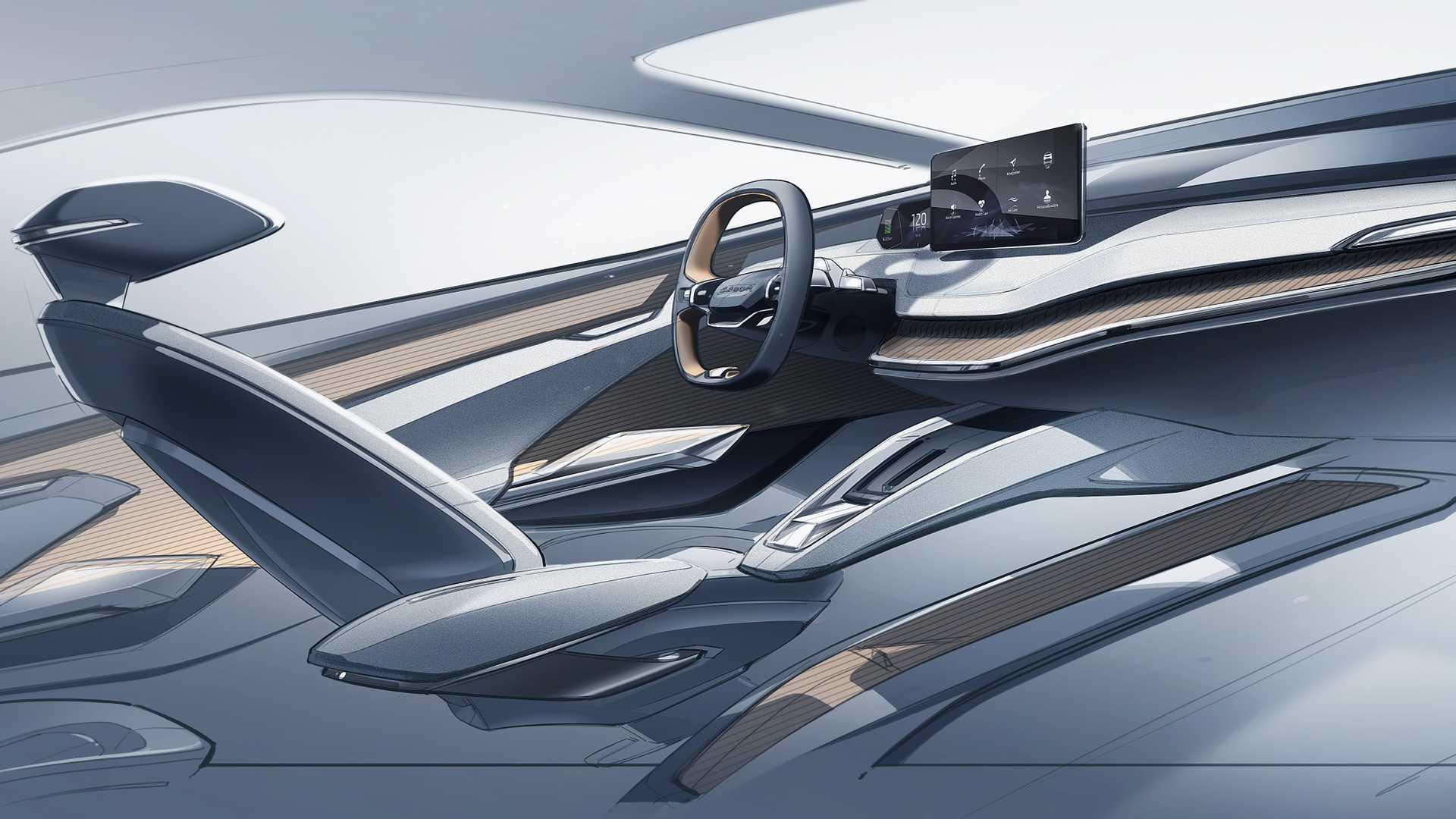斯柯达VISION iV概念车内饰设计图 设计简洁/科技感足