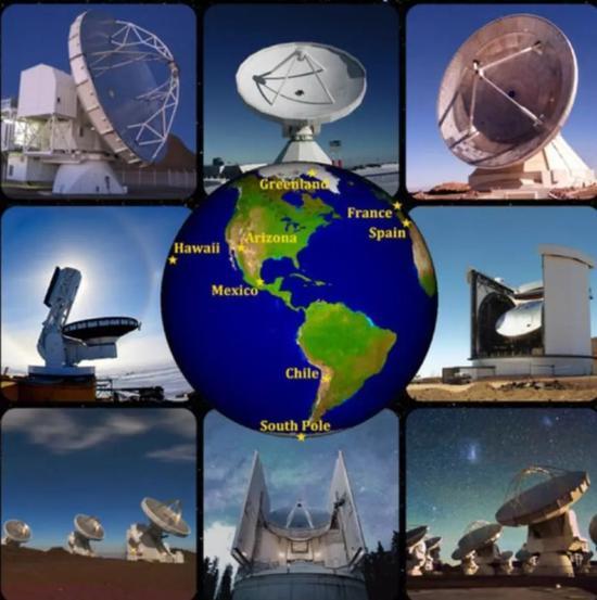 图丨事件视界望远镜是由全球八大望远镜组成(来源:APEX, IRAM, G。 Narayanan, J。 McMahon, JCMT/JAC, S。 Hostler, D。 Harvey, ESO/C。 Malin)