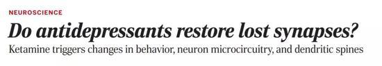 威尔・康奈尔医学院:氯胺酮能修复抑郁给大脑留下的创伤!