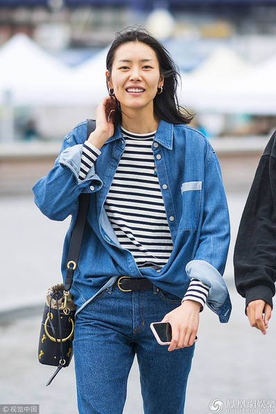 纽约,中国超模刘雯(liu wen)素颜前往alexander wang2019春夏系列时装
